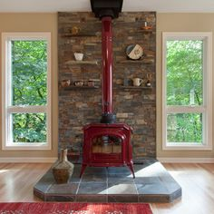 No Fireplace Only Wood Burning Stove Design Ideas, Pictures, Remodel and Decor - Stone behind stove