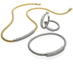 CHIMENTO Stretch Diamonds yellow and white gold necklace, earrings and bracelet with diamonds.