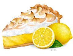 Digital Illustration of a Lemon Meringue Pie Food Poster Design, Food Design, Amazing Food Art, Felt Cake, Dessert Illustration, Cute Food Drawings, Watercolor Cake, Food Painting, Retro Recipes