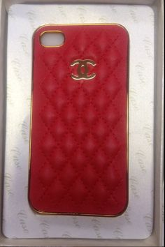CHANEL LEATHER CASE red