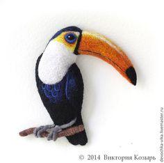 """Брошь из шерсти """"Тукан"""" - птица,птичка,птицы,птица счастья,Виктория Козырь"""