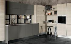 Cucina angolare moderna con home office - Composizione 0576 - Vista laterale