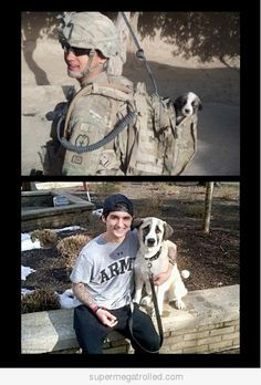 Overseas or at home, we love our service members as much as this soldier loves his dog. #puppylove #ASBP #donateblood