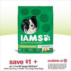 Ahorra $1 y recibe #GRATIS $5 en tarjeta de regalo @target  cuando compres productos @IAMS #IamsDogOffer #CollectiveBias #ad