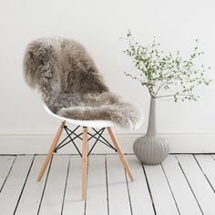 Soft Grey Gray Sheepskin Rug & Throw / Deep pile / The Eivi