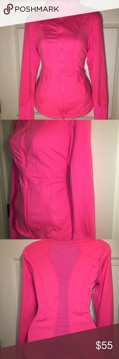 Women's Zella Full Zip Track Jacket Pre loved Women's Full Zip Zella track jacket in a gorgeous neon bright pink color. With mesh detailing along the back and arms. Beautiful statement piece for your sporty wardrobe. Zella Jackets & Coats