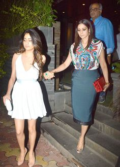 Sridevi and daughter Jhanvi along with Boney Kapoor spotted in Juhu.