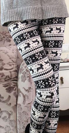 deer and snowflakes leggings. Great to wear under a big comfy sweatshirt