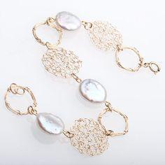 Christmas Gift, Woman Gold Pearl Bracelet,  Gold Crochet  Bracelet,  Handmade Statement Bracelet, Israeli Jewelry, Gift For Her by ELITALSHOP on Etsy