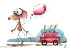ACEO Original Watercolor Folk Art Whimsical Mouse Balloon Cake Red Party Wagon | eBay