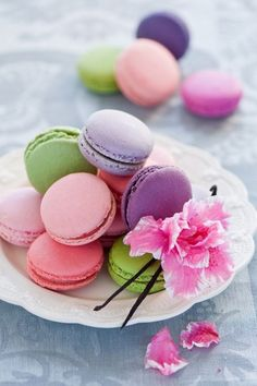 Macarons in Pastel Colors Macarons, Macaron Fimo, Macaron Cookies, Cute Desserts, Holiday Desserts, Delicious Desserts, Uses For Rose Water, Orange Sherbert, Blush Bridal Showers