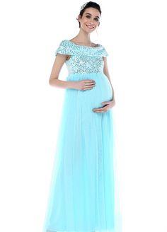 4da4e42fc3b15 Moda Labio - Pul Payet Tül Hamile Elbisesi Bebe Mavi