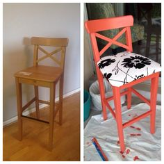 This one is my own!  super happy with how it came out.   ikea ingolf bar stool hack   :-)