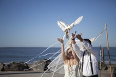 styled bohemian beach shoot doves