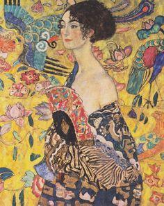 Lady with Fan - Gustav Klimt, 1918