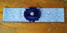 Navy blue garter by BloomsandBlessings on Etsy