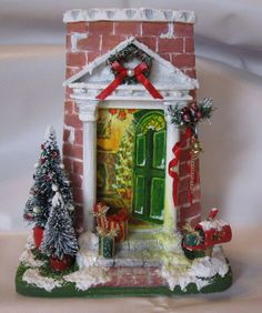 Risultati immagini per tejas navideñas Miniature Christmas, Handmade Christmas, Christmas Diy, Christmas Decorations, Merry Christmas, Xmas Crafts, Diy And Crafts, Clay Houses, Navidad Diy