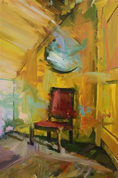 Paul Wright - Yellow Room (After Van Gogh), oil on board
