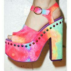 Y.R.U. Rainbow Daydream Platform New, never worn studded rainbow open-toed platform Y.R.U.  Shoes Platforms