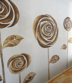 rosas sobre gotelé