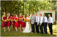 Red bridesmaids dresses with sunflowers