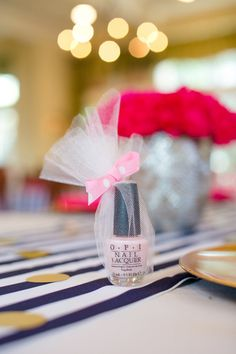 Check out this bold & preppy Kate Spade bridal shower brunch you can recreate at home. #bridal #shower #favors