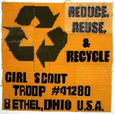 """""""Reduce, Reuse, & Recycle"""" panel made out of plastic canvas and yarn, from The Dream Rocket Project. #girlscouts #recycle"""