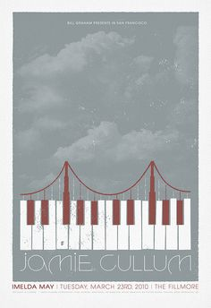 Indie Music Posters Clever the way they merged the golden gate bridge and piano keys Band Posters, Music Posters, Jamie Cullum, Jazz Poster, Gig Poster, Piano Art, Expressive Art, Indie Music, Cd Cover