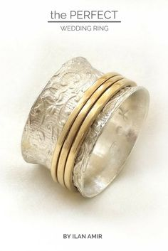 Chic sterling silver lace ring, three yellow gold spinners, popular ring, women's semiwide wedding ring, spinner ring, art nouveau ring
