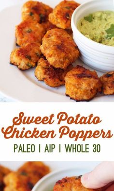 Sweet Potato Chicken Poppers Sweet Potato Chicken Poppers <br> These chicken poppers are gluten free, paleo, AIP, and egg free, while still being delicious enough to fool anyone who regularly eats otherwise! Healthy Toddler Meals, Quick Healthy Meals, Good Healthy Recipes, Healthy Foods To Eat, Baby Food Recipes, Kids Meals, Healthy Snacks, Healthy Eating, Easy Meals