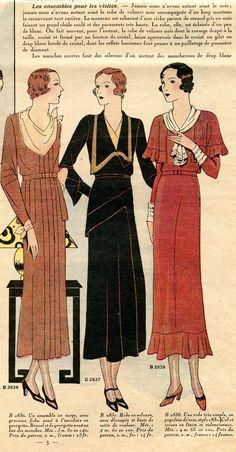 La mode française - 17ème année - nouvelle série n° 43 - 25 octobre 1931 - 3 modèles de robe.