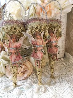 Shabby French Christmas Angel,Cone,Victorian Tussie Mussie,Candy holder, Pink and Gold, svfteam