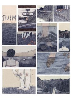 Lizzy Stewart. A3 sized digital poster print of my illustrated short story 'swim'. Printed on 100% recycled paper & signed.