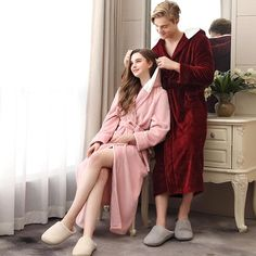 Autumn Winter Velvet Bathrobe Women Cardigan Hooded Couple Sleepwear 2019 Flannel Thick Morning Robe Plus Size Long Robe Sleepwear Women, Pajamas Women, Lace Nightgown, Satin Pyjama Set, Nightgowns For Women, Elegant Woman, European Fashion, Cardigans For Women, Night Gown