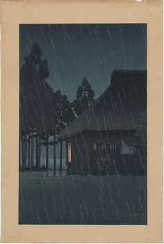 "Hasui Kawase, ""Evening Rain at a Lakeside Tearoom"