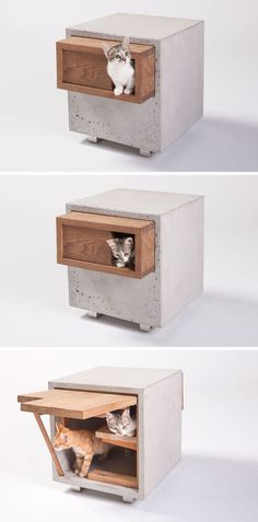 11 Cat Caves That Prove Cat Beds Can Be Stylish // This concrete and wood side table also doubles as a place for your cats to hang out in, sleep in, or play in.
