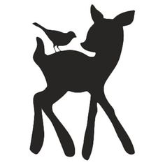 Forrest Critter Chalkboard Decal cute fawn and a bird: