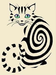 The Cheshire Cat; Alice in Wonderland. Cheshire Cat Tattoo, Chesire Cat, Cheshire Cat Drawing, Crazy Cat Lady, Crazy Cats, Tattoo Minimaliste, Illustration Art, Illustrations, Arte Pop