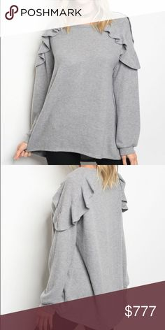 """COMING SOON! Gray Ruffle Shoulder Sweatshirt Top Coming soon! """"Like"""" to be notified upon arrival. Long sleeve gray sweatshirt featuring a crew neckline and ruffle shoulder detail. 79% polyester, 18% rayon, 3% spandex. Made in U.S.A. 🇺🇸 The Luxe Bohemian Tops Sweatshirts & Hoodies"""