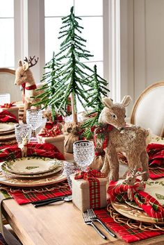 Set a pretty Christmas scene with our Winter's Wonder Dinnerware, surrounded by natural elements. Snow-kissed faux spruce trees alongside handcrafted sisal reindeer an Woodland Christmas, Magical Christmas, Plaid Christmas, Country Christmas, All Things Christmas, Christmas Home, Christmas Holidays, Christmas Lunch, Outdoor Christmas