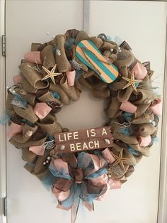 Island wreath with shells and starfish teal and peach with beach board