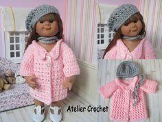 Ensemble Manteau, béret et écharpe au crochet pour poupée Müller Wichtel