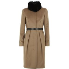 MaxMara Studio Saloon Coat (19 855 UAH) ❤ liked on Polyvore featuring outerwear, coats, jackets, wool cashmere coat, maxmara, brown cashmere coat, collarless coat and brown coat