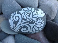 Creative Muse / White Zen series /'painted rock / Sandi Pike Foundas / beach stone from Cape Cod