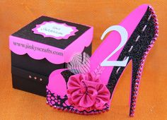 High Heel Shoe 3D Cards. It can be a Unique Mis 15 or Sweet 16 Invitation card, Table #, Birthdcard and so on...