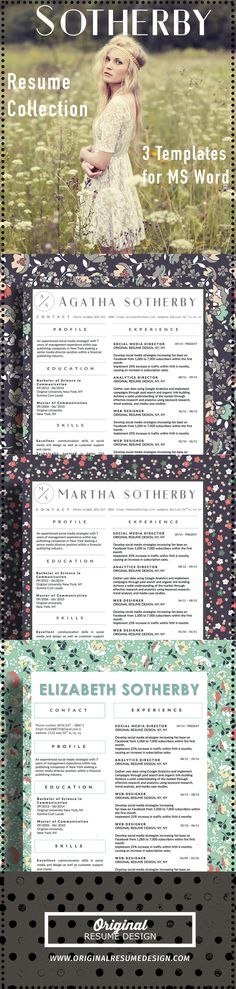 3 Beautiful Resume Designs by Original Resume Design - The Sotherby Collection