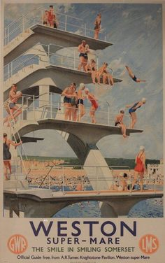 Weston Super-Mare - The smile in smiling Somerset - GWR - LMS - (Septimus Scott) - Posters Uk, Train Posters, Railway Posters, British Travel, British Seaside, Travel Uk, Poster Retro, Poster Art, England Travel Poster