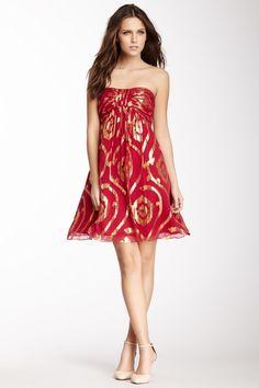 Oleg Cassini Strapless Lurex Design Silk Blend Dress by Oleg Cassini on @HauteLook