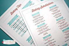 Baking Tips and Substitutions Free Printables!