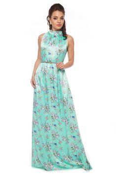 Sleeveless Lightgreen Maxi-Lenght Dress by BeIn16.com